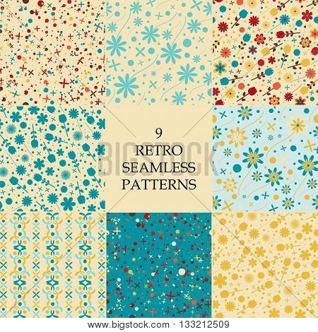 Vintage seamless pattern with flowers, leaves. Background can be used for pattern fills, web page background, surface textures