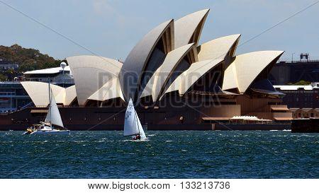 Sydney, Australia - Jan 8, 2015: Hungarian team (HUN78: ZIEGLER, Janos and POLGAR, Csaba) at the Opera House. Flying Dutchman World Championship was held in Sydney in 2015.