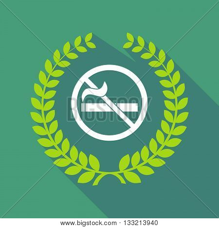 Long Shadow Laurel Wreath Icon With  A No Smoking Sign