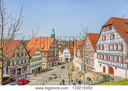 Backnang, Germany - April 3 2016: City center with townhall and half-timbered houses