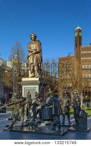 Statue of Rembrandt and sculptures of the Night Watch in 3D at the Rembrandtplein in Amsterdam