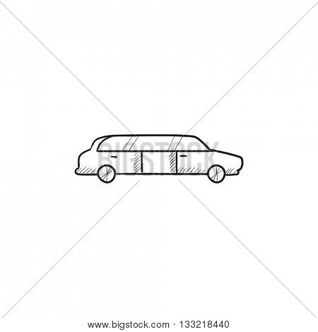 Wedding limousine vector sketch icon isolated on background. Hand drawn Wedding limousine icon. Wedding limousine sketch icon for infographic, website or app.