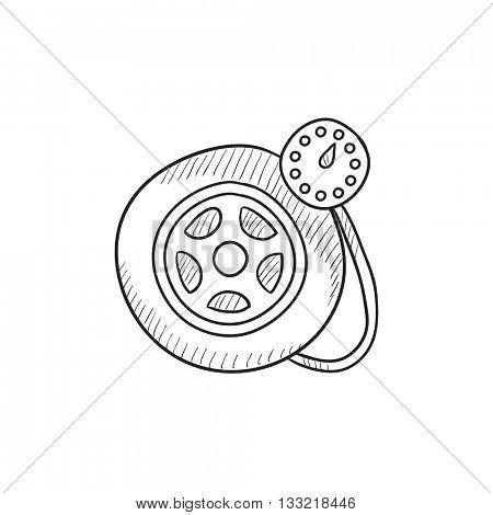 Pressure gauge tyre vector sketch icon isolated on background. Hand drawn Pressure gauge tyre icon. Pressure gauge tyre sketch icon for infographic, website or app.