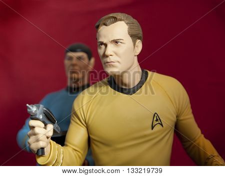 BLOOMFIELD NJ - JUNE 5 2016: Captain Kirk and Mr Spock toys recreate a scene from Star Trek.