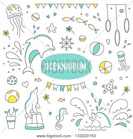 Vector set of elements suitable for oceanarium or dolphinarium. Doodle dolphin show background. For posters, cards, brochures, flyers and souvenirs, invitations, website designs.