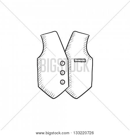 Waistcoat vector sketch icon isolated on background. Hand drawn Waistcoat icon. Waistcoat sketch icon for infographic, website or app.