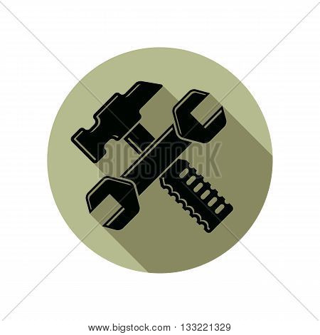 Detailed vector illustration of hammer and wrench crossed work tools. Industry mallet and spanner poster