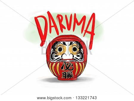 daruma is traditional myth doll from japanese . poster