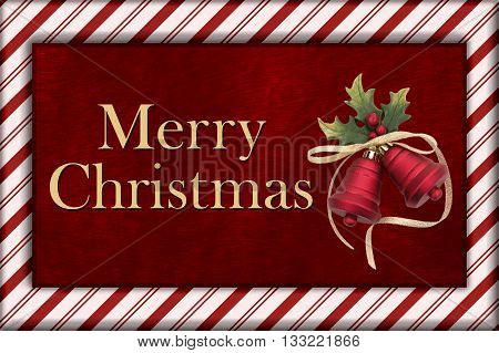 Merry Christmas Greeting Red Plush Fur Christmas Bells Christmas and Candy Cane Border with text Merry Christmas, 3D Illustration