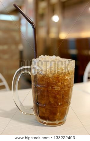 Cold cola in glassdrink for stop thirsty.