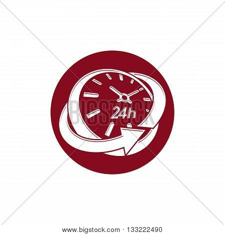 Graphic web vector 24 hours timer around-the-clock pictogram.