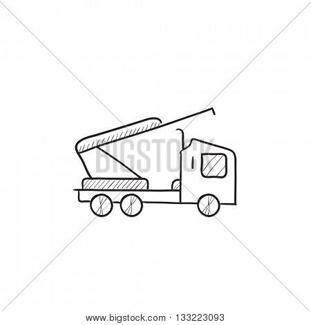 Machine with crane and cradles vector sketch icon isolated on background. Hand drawn Machine with crane and cradles icon. Machine with crane and cradles sketch icon for infographic, website or app.