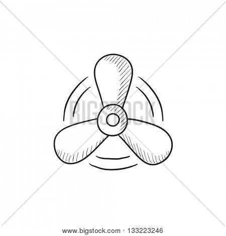 Boat propeller vector sketch icon isolated on background. Hand drawn Boat propeller icon. Boat propeller sketch icon for infographic, website or app.