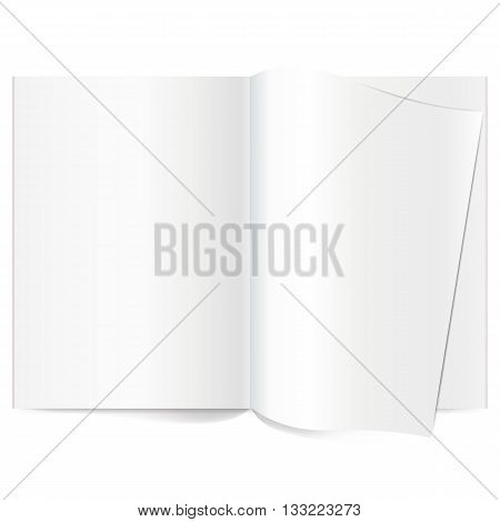 Vector blank magazine spread. Book Spread With Blank White Pages. Curled corner of paper with shadow. Isolated white paper. A4 brochure Open. Template magazine spread. Curled corner of paper with shadow on transparent background