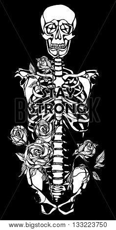 Human skeleton. Creative quote background. Digital illustration