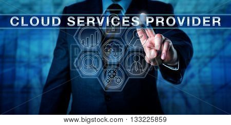 Manager touching CLOUD SERVICES PROVIDER on an interactive virtual control screen. Business metaphor and information technology concept for on-demand computing resources managed by a cloud provider.
