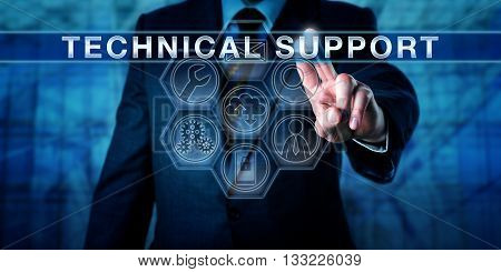 Manager is pressing TECHNICAL SUPPORT on an interactive touch screen monitor. Business metaphor for customer experience management outsourcing and managed services. IT concept for tech help desk.