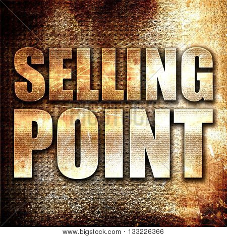 selling point, 3D rendering, metal text on rust background