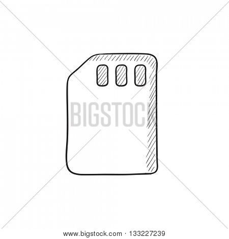 Sim card vector sketch icon isolated on background. Hand drawn Sim card icon. Sim card sketch icon for infographic, website or app.