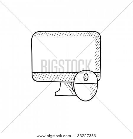 Computer monitor and mouse vector sketch icon isolated on background. Hand drawn Computer monitor and mouse icon. Computer monitor and mouse sketch icon for infographic, website or app.