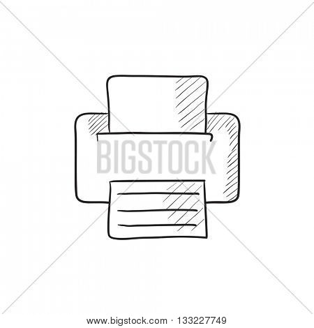Printer vector sketch icon isolated on background. Hand drawn Printer icon. Printer sketch icon for infographic, website or app.