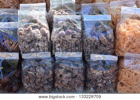 Tamarind mix with sugar in plastic bag