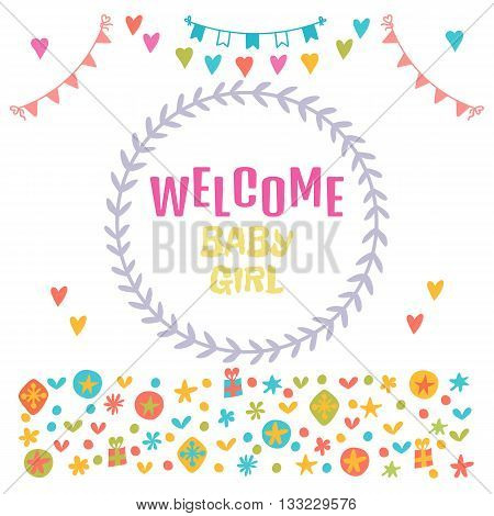Welcome Baby Girl. Baby Girl Shower Card. Baby Shower Greeting Card. Baby Girl Arrival Postcard