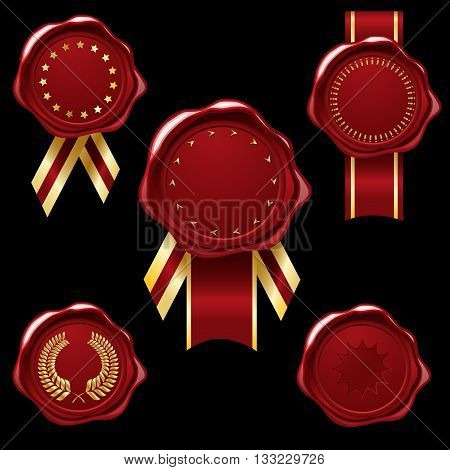Wax seal collection with gold ribbons and embellishments