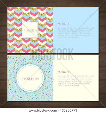 Invitation card with gold glitter chevron background back and front. Invitation card with gold glittering confetti on blue background. Vector illustration
