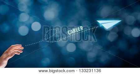 Career acceleration concept personal development personal growth. Businessman throw a paper plane symbolizing acceleration of career. Wide banner composition with bokeh in background.