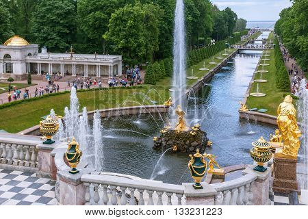 ST. PETERSBURG, PETERHOF, RUSSIA -JUNE 02, 2016: Fountains of Lower Gardens, Sea Canal,  Fountain Samson in Peterhof. Fountains of Peterhof are one of Russia's most famous tourist attractions