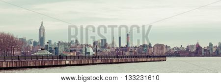A view of the Manhattan skyline on a dismal spring day.