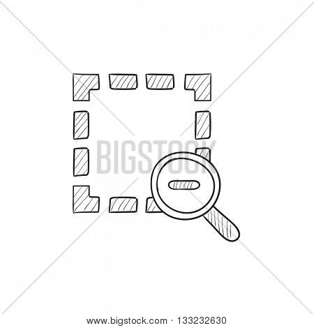 Zoom out vector sketch icon isolated on background. Hand drawn Zoom out icon. Zoom out sketch icon for infographic, website or app.