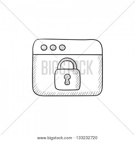 Security browser vector sketch icon isolated on background. Hand drawn Security browser icon. Security browser sketch icon for infographic, website or app.