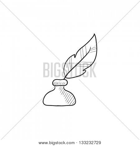 Feather in inkwell vector sketch icon isolated on background. Hand drawn Feather in inkwell icon. Feather in inkwell sketch icon for infographic, website or app.