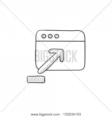 Browser window with upload sign vector sketch icon isolated on background. Hand drawn Browser window with upload sign icon. Browser window with upload sign sketch icon for infographic, website or app.