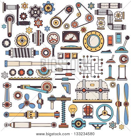 doodle parts of machinery and mechanisms in color. Handmade. Create a steampunk machine.