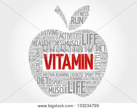 VITAMIN apple word cloud health concept, presentation background