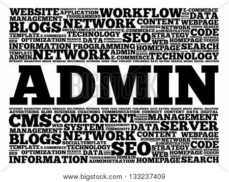 ADMIN word cloud collage concept, presentation background
