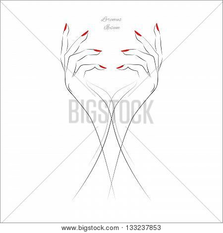 Female hand with painted nails, red manicure symbol. Vector illustration.