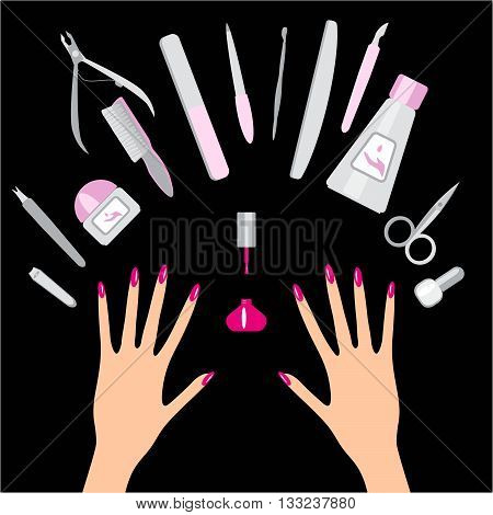 Nail art salon concept background. Vector set of manicure tools and hands on black background