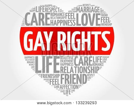Gay rights concept heart word cloud, presentation background