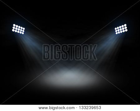 Stadium theater floolights spotlights with light beams on black background