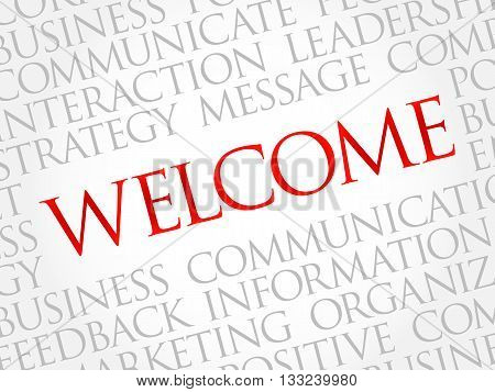 WELCOME word cloud business concept, presentation background