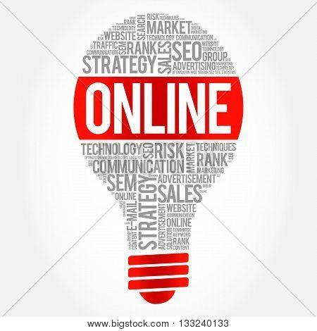 ONLINE bulb word cloud business concept, presentation background