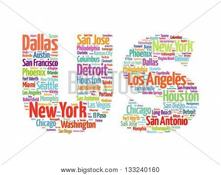 US letters with cities names words cloud concept background
