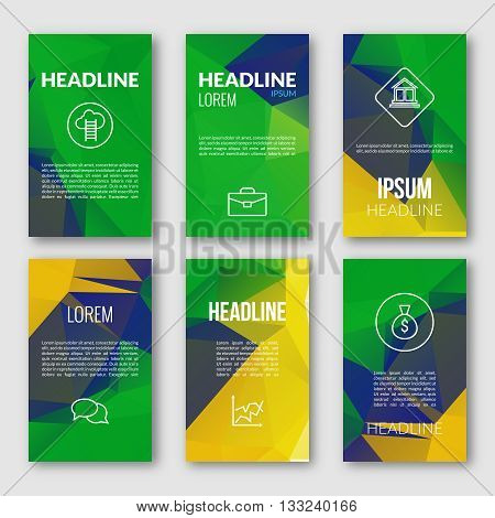 Vector Geometric Banners Set. Brazil Fag Color Background. Abstract Light Bright Sparkle Backdrop for Business, Web, Print.