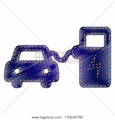 Electric car battery charging sign. Jeans style icon on white background.