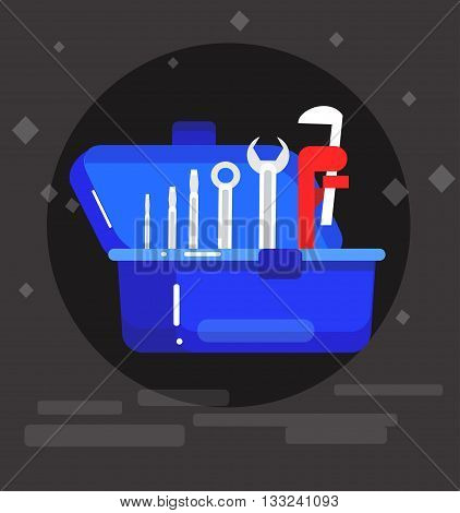 detailed proffesional plumbing tool. Concept banner plumbing servise