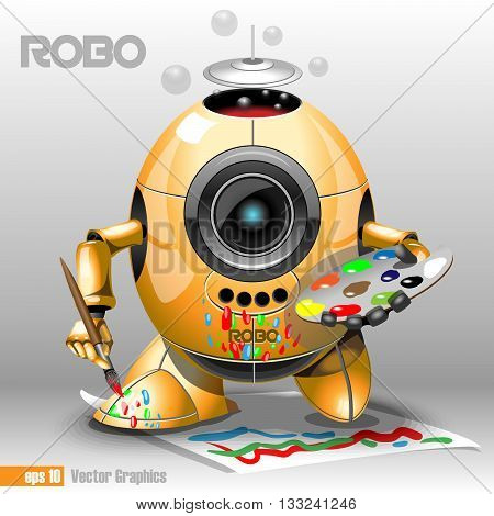 3d orange robo eyeborg painting with a pencil on a paper holding in hand. Big blue and black eye and antenna two feet. Digital vector image.